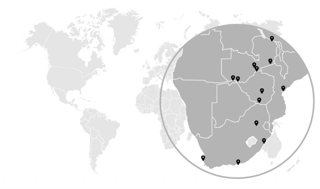 The geographical presence of BCF International in Africa